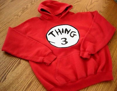 Thing 3 Youth L Girls Boys Hooded Sweatshirt Cotton Polyester Seuss Red Hoodie