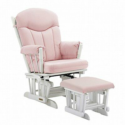 Shermag Glider and Ottoman, Pink Gingham