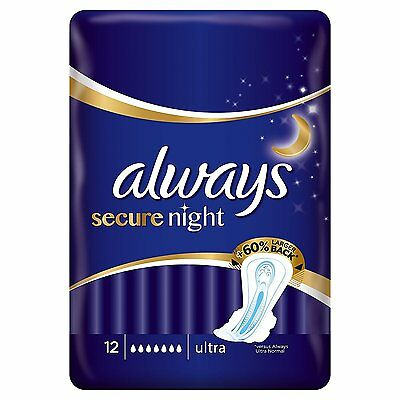 Always Secure Night Sanitary Towels with wings 12 count (Marked Packaging)
