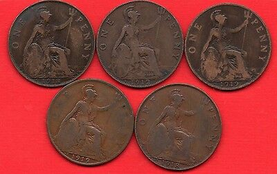 George V One Penny Coin Collection. 1912 H, 1918 H & Kn, 1919 H & Kn Pennies Set