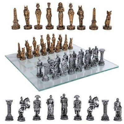 Warring Nations Egyptian VS Roman Army Chess Pieces With Glass Board Set Decor