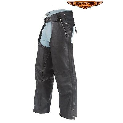 Mens Leather Chaps With Removable Liner & 3 Pockets