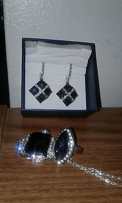 NO 4 Rocket Jewelry Set, ring, Earrings and Necklace 1765035 Black/Diamond