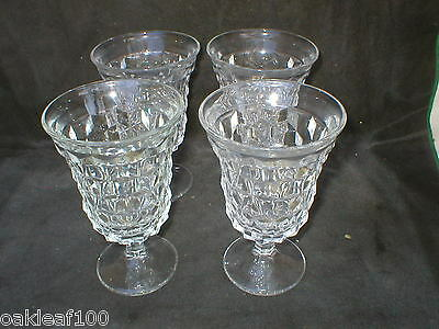 """Fostoria """"american"""" Clear Water Goblets 5 1/2""""  (Set Of Four)"""
