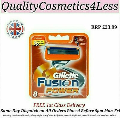Genuine Gillette Fusion Power Razor Blades - 8 Pack + FREE 1st Class Delivery