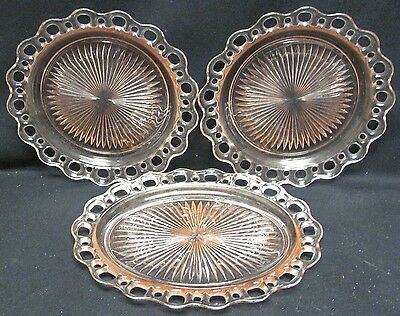Anchor Hocking Old Colony Open Lace 2 Pink Dinner Plates and Pink Oval Platter