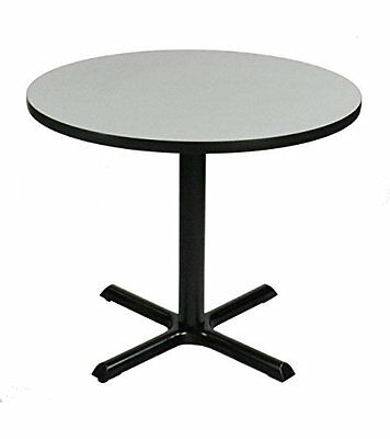Correll Gray Granite Top and Black Base Round Bar Cafe and Break Room Table 24in