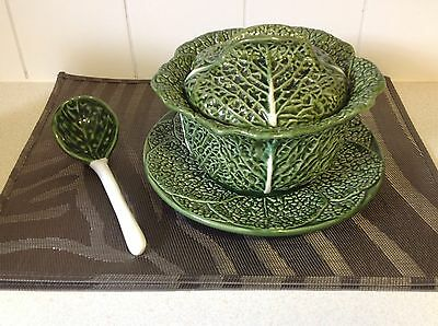 Large Signed Bordallo Pinheiro Cabbage Leaf Tureen Set Plate Ladle Lid Portugal