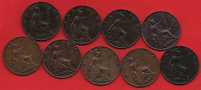 Date Run Of 9 Edward Vii Farthing Coins. 1902 - 1910 Collection. Coin Job Lot.