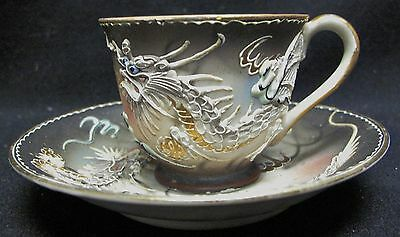 Antique Hand Painted Black, Red and Grey Ming Dragon Demitasse Cup and Saucer