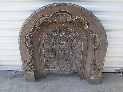 Antique Cast Iron Victorian Fireplace Surround Insert Summer Cover Thistle Acorn