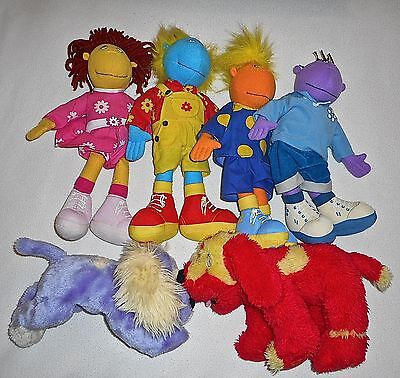 "6 Tweenies Full Set Soft Toys Fizz Jake Milo Bella 13"" +Doodles & Izzles Dogs"