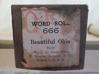 QRS Hand Played Player Piano Word Beautiful Ohio Good Condition QRS No. 666