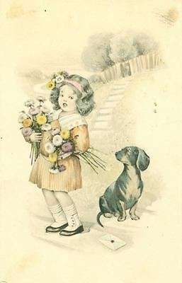 Vintage Dachshund & Little Girl with Posies Postcard PC from Paris France c1908