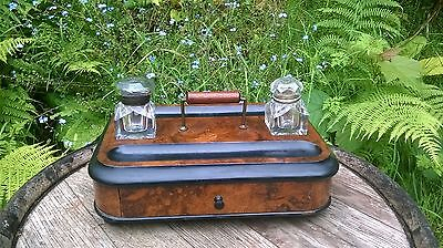 Antique Victorian Walnut Pen & Ink Writing Box / Slope With 2 Ink Bottles