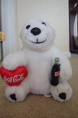 1993 Vintage Plush Coca Cola Stuffed White Bear With Coke Bottle And Coke Heart