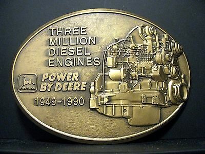 1990 John Deere Worldwide 3 Million Diesel Engine Brass Belt Buckle Dubuque jd