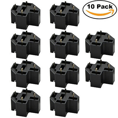 10PCS PCB Relay Socket 40A 4 Pin Connector PC Board Mount Micro Terminals SPST