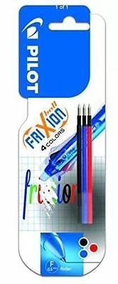 Pilot Frixion Refills 3 Pack 0.5MM 4 Colours Multi Ball Pen Black Red Blue Color