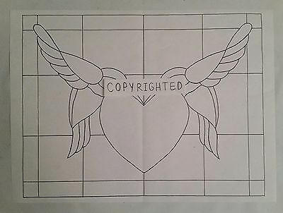 Stained Glass Pattern by Studio B--Hummingbirds Heart--8.5x11 up to 17x22