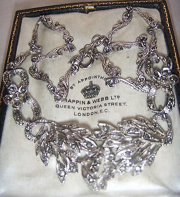Vintage Jewellery Art Deco Pierced Setting Real Marcasite Full Necklace