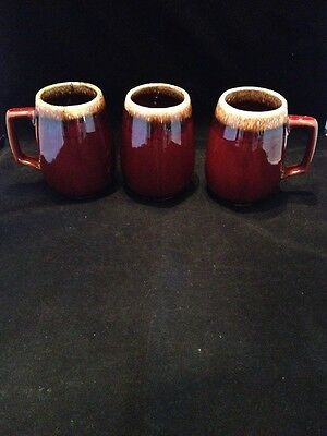 3 Vintage HULL Pottery Grand Coffee Mugs  Brown Drip 32oz Signed