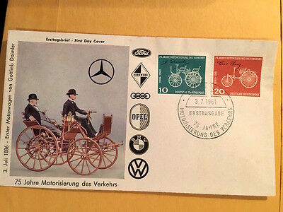 Vintage German 1961 First Day Cover Daimler's(Mercedes) first Motorcar in 1886