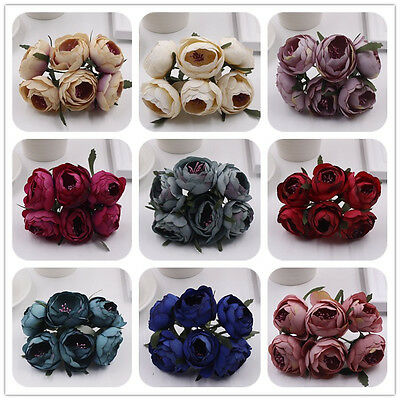 6pcs/Lot Artificial Rose Silk Flower Peony Flowers  Wedding Bridal Rose Flowers