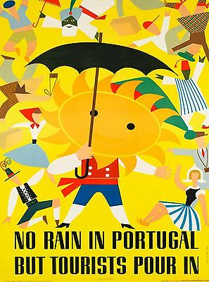 No Rain in Portugal Portugese Vintage Travel Advertisement Art Poster Print