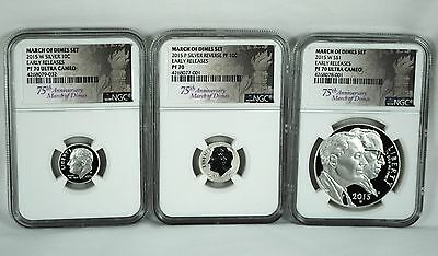 2015 March of Dimes Three Coin Set NGC Early Releases PF70 and PF70 Ultra Cameo