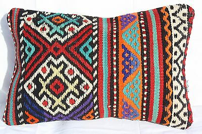 "TURKISH KILIM RUG LUMBAR PILLOW CUSHION COVER HAND WOVEN WOOL 20"" x 13"""