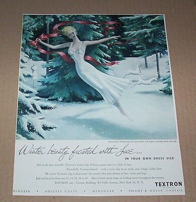 1948 ad page - Textron Slips lingerie - winter beauty frosted with lace- ART AD