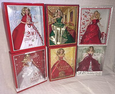 Mattel HOLIDAY BARBIE 2010, 2011, 2012, 2013, 2014, & 2015! Lot of 6! All NIB!