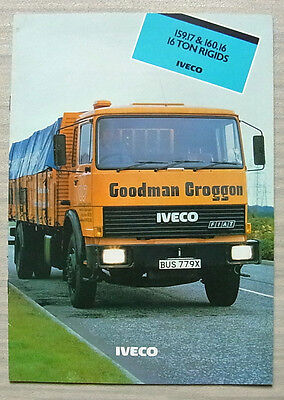 IVECO 159.17 & 160.16 16 TON RIGIDs Commercial Sales Brochure Oct 1982 #145A