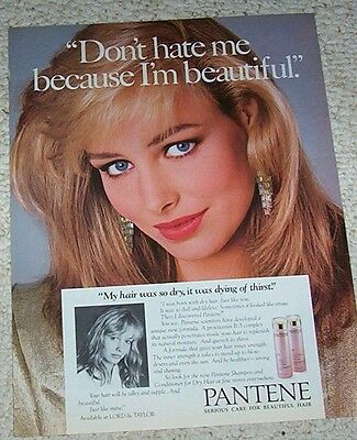 1986 print ad page - Pantene shampoo Beautiful Blonde girl hair vintage ADVERT
