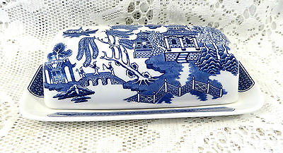 Churchill Pottery Blue & White Willow Pattern Butter Dish - Made In England