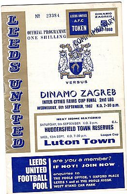 LEEDS UNITED v DINAMO ZAGREB INTER CITIES FAIRS CUP FINAL 2ND LEG SEPTEMBER 1967
