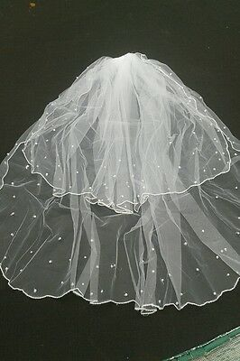 Veil 2 Tier On Comb 2 Tier Wedding Bridal Pearl Lace White Satin Edge - from UK