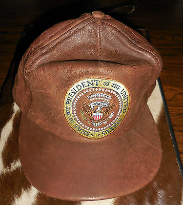 Presidential Seal all Leather White House Cap Brown