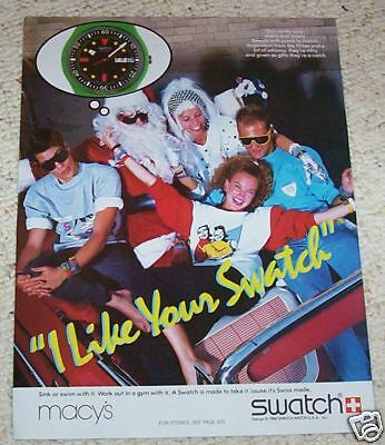 1986 print ad - SWATCH Watches SANTA CLAUS clothing VINTAGE 1-page AD