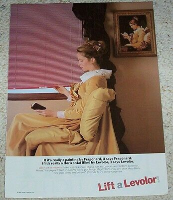 1985 ad page - Fragonard young girl reading painting Levolor blinds PRINT ADVERT