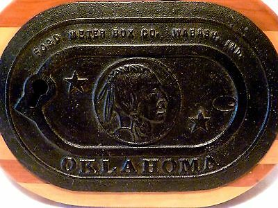 Antique OKLAHOMA Iron INDIAN HEAD Water METER BOX Cover WOOD Wall Plaque TRIVET