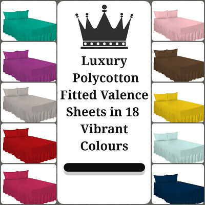 Luxury PolyCotton Fitted Valance Bed Sheets and Pillowcases - Multiple Colors