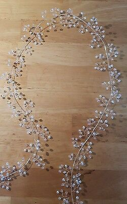 "Beautiful 34"" LONG Hair vine/wire wedding bridal White/Ivory pearl beads/crystal"