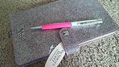 Victoria's Secret lined journal diary notebook glitter pink pen stationery set