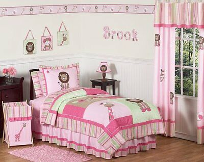 Pink and Green Girls Jungle Kids Bedding 4pc Twin Set, New