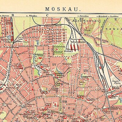 1910  Moskau Moscow  Москва ORIGINAL MAP CITY PLAN dated RUSSIA  OLD