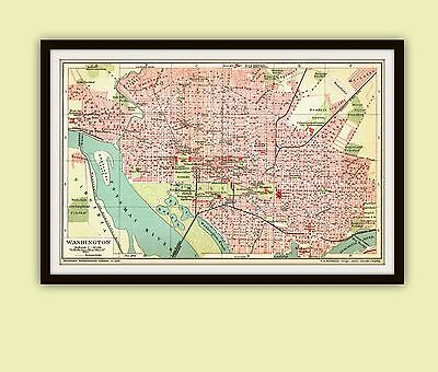 City Plan Washington DC of USA Original dated December 1904 detailed map Capitol