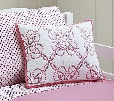"Brand New Pottery Barn Kids Hannah Quilted Sham Small 16"" x 12"" Pink Trim"