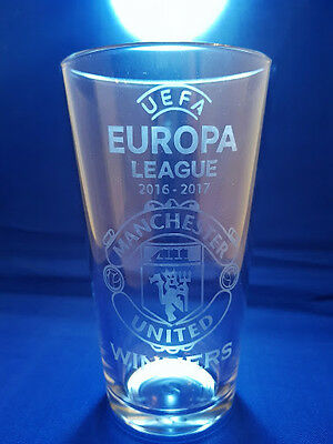UEFA EUROPA LEAGUE 2016 - 2017 Manchester United WINNERS Etched Pint Glass